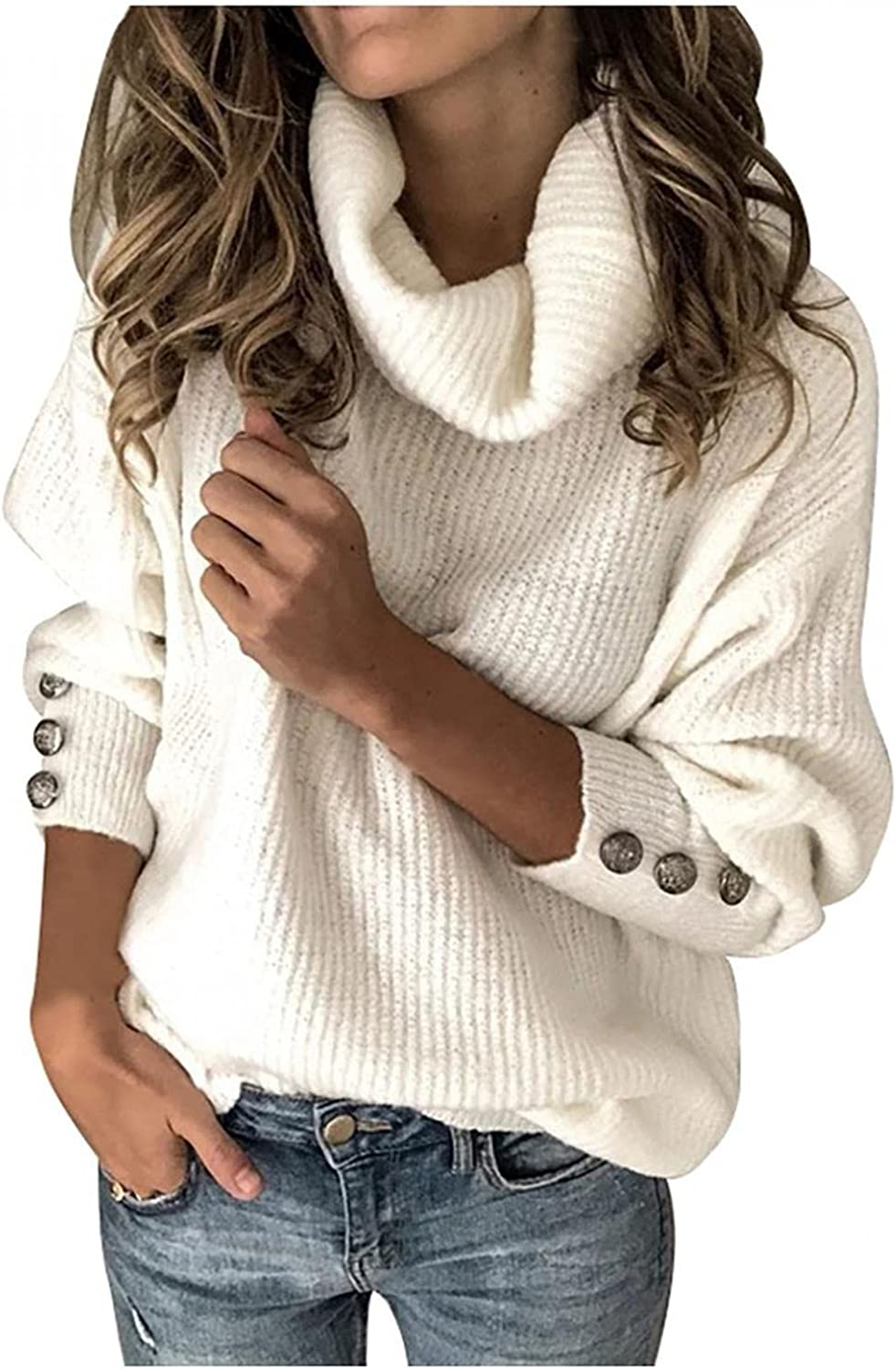 YMADREIG Sweaters for Women Fashion Solid Color Pullover Elegant Knitted Turtleneck Casual Loose Long Sleeve Soft Tops Blouse