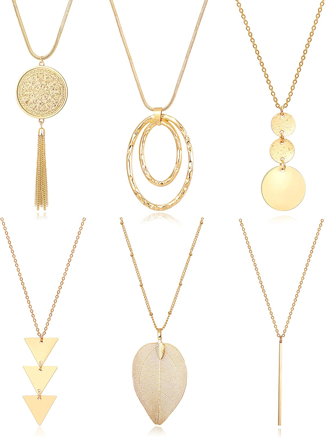 Fesciory 6 PCS Long Pendant Necklace for Women, Gold Bar Circle Leaf Triangle Tassel Y Necklace Set for Girls