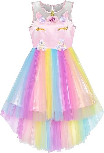 Sunny Fashion Robe Fille Noir Salut-Bas Baguette Magique Princesse Couronne S'habiller 7-14 Ans