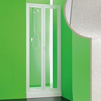 Porta doccia a libro soffietto pvc bianco acrilico h.185cm DOPLAS 90-95 cm