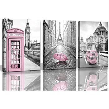 Amazon Com Paris Eiffel Tower Decor For Bedroom For Girls Pink Paris Theme Room Decor Wall Art Canvas Black And White Art Eiffel Tower Pictures Decorations London Big Ben Tower Eiffel Tower Painting