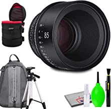 Rokinon Xeen 85mm T1.5 Lens for PL Mount Bundled with Protective Case, Padded Backpack, Tripod and Cleaning Kit