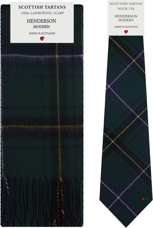 Henderson Modern Tartan Plaid 100% Lambswool Scarf & Tie Gift Set