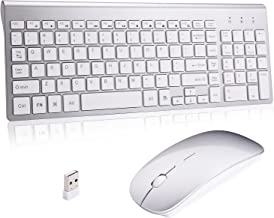 Lucloud Wireless Keyboard and Mouse Combo,Ultra Slim with Mute Whispe-Quiet Keys for Laptop Notebook Mac PC Computer Windows OS Android (LC-TZ22-2)