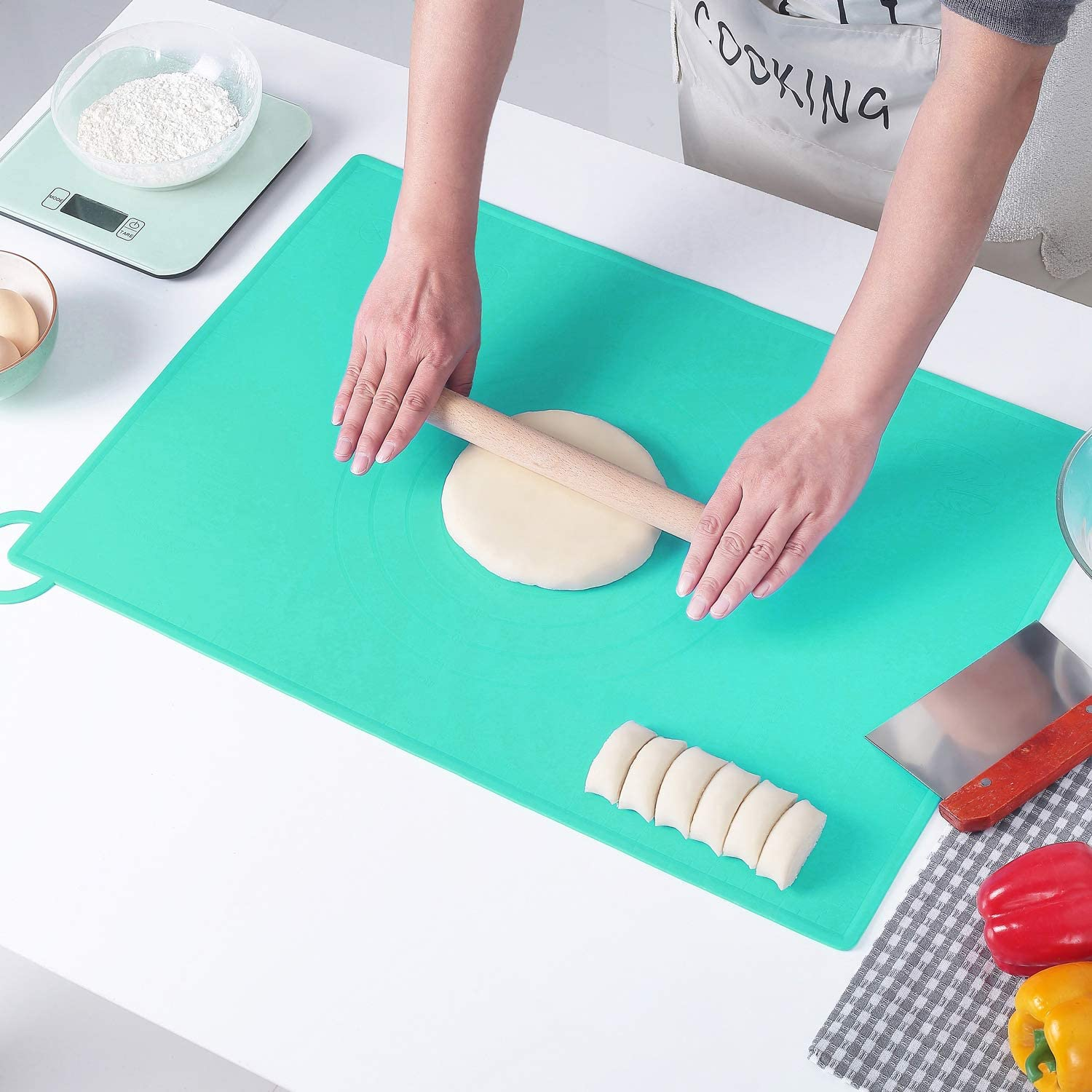 LIMNUO Extra Large Silicone Pastry trust Mat Dough w Non New life Rolling Stick