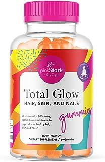 Pink Stork Total Glow: Berry Flavored Hair, Skin, and Nails Gummies with Biotin + Folate + Zinc + Vitamin B6 + Vitamin A +...