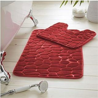 Gaveno Cavailia Lot de 2 tapis de bain antidérapants 100 % mousse à mémoire de forme pour salle de bain et WC Violet 50 x ...