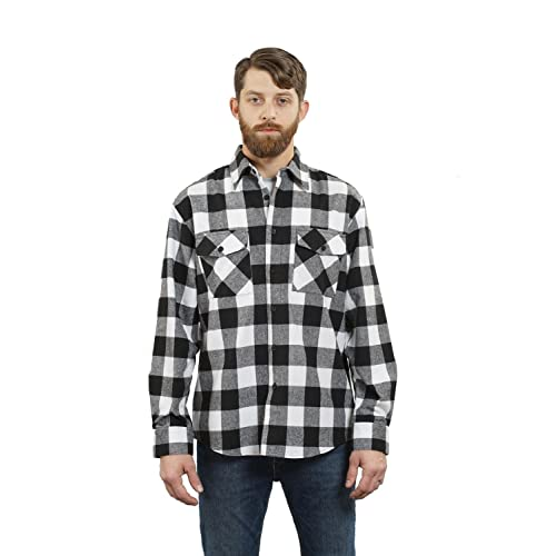 X-Future Mens Plaid Printing Washed Denim Button Up Flannel Casual Long Sleeve Shirts