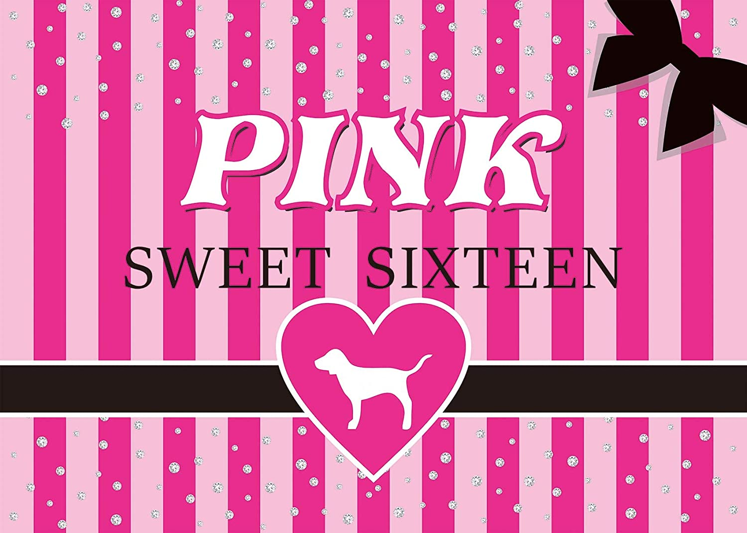 Fotupuul Silver Diamond Pink Striped Sweet Sixteen Photography Backdrops Sweet 16 Party Decoration Banner Background 7x5FT