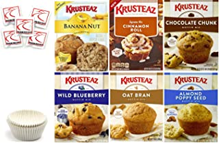 Krusteaz Muffin Mix Variety Pack #1 + Baking Liner + Sanitizing Hand Wipes. Cinnamon Roll; Wild Blueberry; Chocolate Chunk; Banana Nut; Almond Poppy Seed; Oat Bran. Bundle of 6 Muffin Mix Care Package