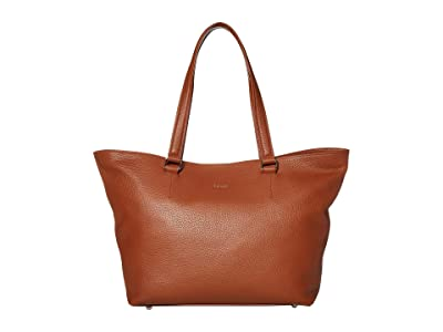 Lipault Paris Invitation Leather Tote Bag (Caramel) Bags