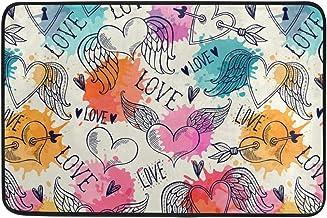 JSTEL Nonslip Door Mat Home Decor, Watercolor Rainbow Love Hearts Durable Indoor Outdoor Entrance Doormat 23.6 X 15.7 Inches
