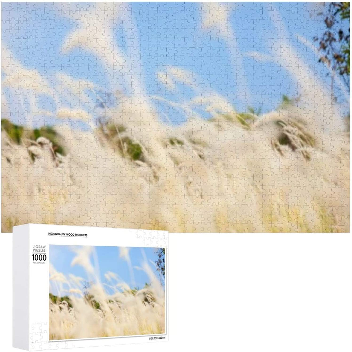 Blurred Elegant Flowers Grass White Field - for Puzzles Ranking TOP4 Jigsaw 1000 Adul