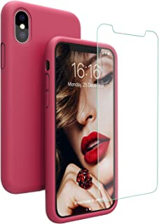 JASBON Silicone Case for iPhone X/iPhone Xs Case, Liquid Silicone Case with Free Screen Protector Gel Rubber Shockproof Cover Full Protective Case for Apple iPhone Xs/X-Rose Red