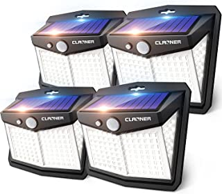 Claoner Solar Lights Outdoor, [128 LED/4 Packs] Solar Motion Sensor Lights 3 Working Modes Outdoor Lights with 270° Wide A...
