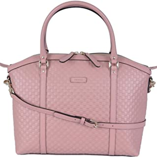 Women's Leather Micro GG Guccissima Crossbody Dome Purse (Soft Pink)