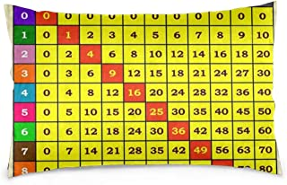 Merahans Multiplication Table Math Print Pillow Covers Decorative Pillowcases, Throw Pillow Covers with Hidden Zipper 20 X 30 Inch