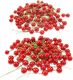 Shxstore Artificial Red Holly Berry Picks Stems Fake Winter Christmas Berries Decor For DIY Garland And Holiday Wreath Ornaments, 200 Counts