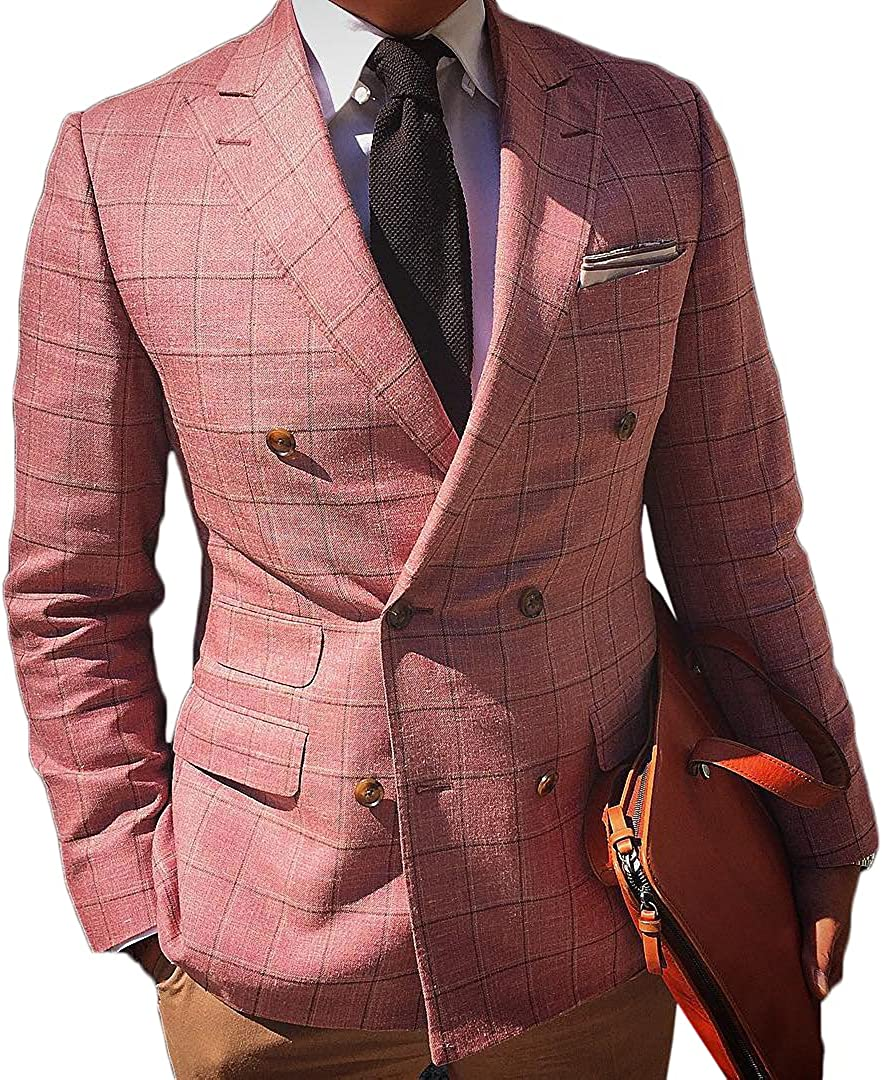 Fenghuavip Romantic Personality Men's Pink Suit Jacket Double-Breasted Pocket Jacket