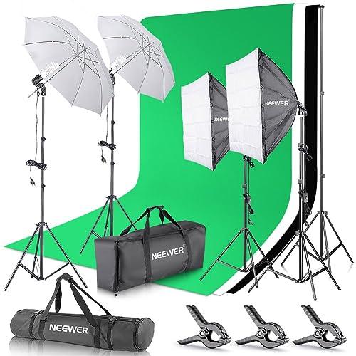 Neewer Kit Eclairage Studio, Support de Fond 2,6mx 3m avec Toile de Fond Vert Kit Lumière Vidéo Photo 800W 5500K Parapluies Softbox pour Photo Studio Produit Portrait Vidéo