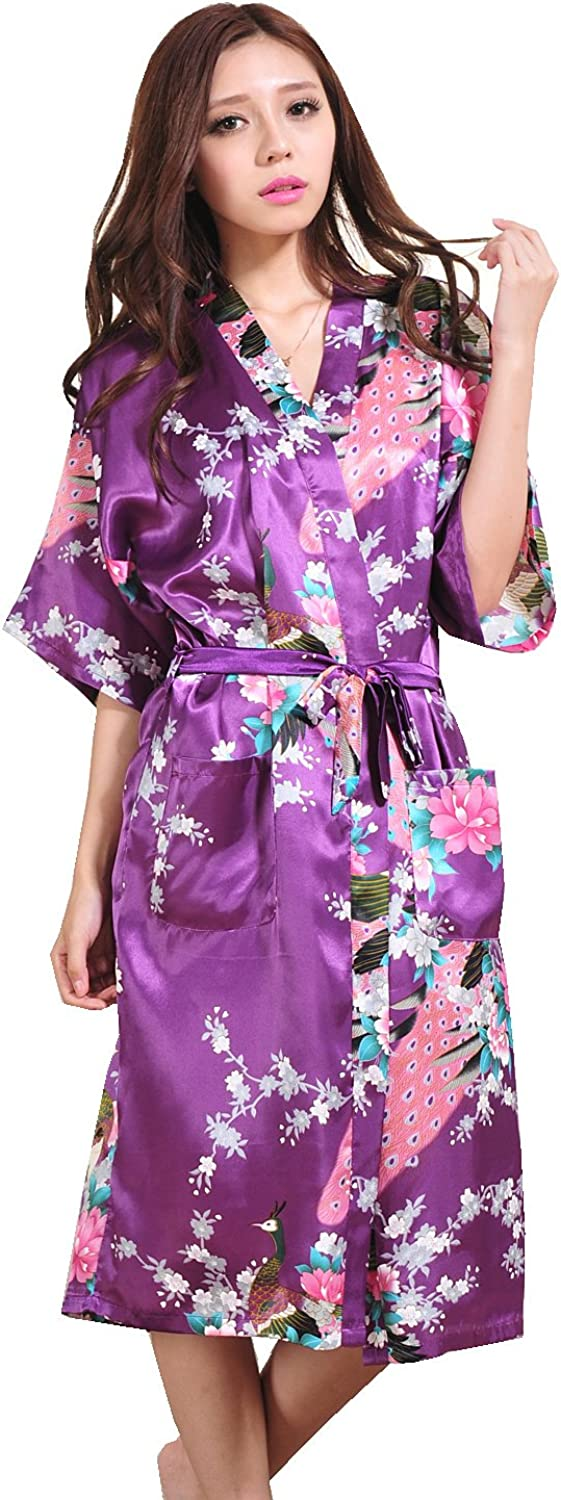 Ryshman Women's Robes Peacock and Blossoms Kimono Satin Nightwear Long Style