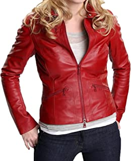 Women's Once Upon a Time Real Leather Jacket in Red Color