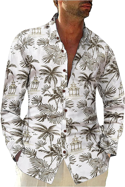 XXBR Men's Button Down Hawaiian Shirts, Fall Summer Leaves Floral Boho Printed Casual Beach Tops Lapel Shirt for Mens