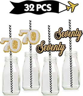 70th Gold Striped Paper Straw Décor- Birthday Anniversary Party decoration – Set of 32