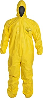 DuPont Tychem 2000 QC127S Disposable Chemical Resistant Coverall with Hood, Elastic Cuff and Serged Seams, Yellow, X-Large (Pack of 12)