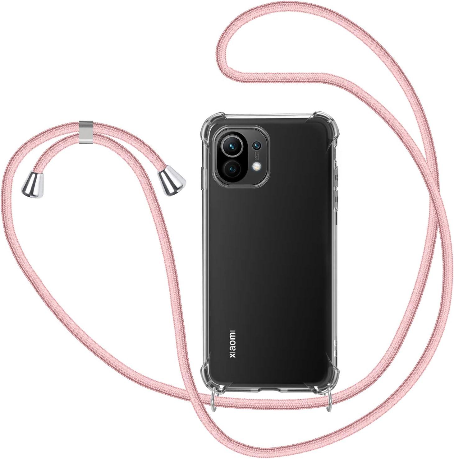 SAMCASE Funda con Cuerda para Xiaomi Mi 11, no para Xiaomi Mi 11 Lite, Carcasa Transparente TPU Suave Silicona Case con Correa Colgante Ajustable Collar Correa de Cuello Cadena Cordón - Oro Rosa