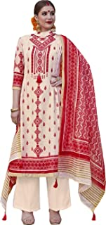 Delightful Cream & Red Palazzo Style Suit