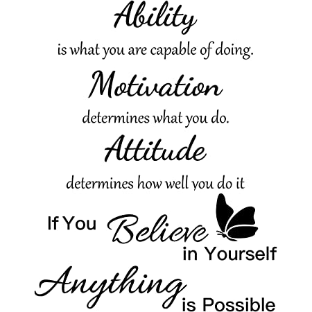 2 Sheets Vinyl Wall Quotes Stickers Ability Motivation Attitude Inspirational Saying Home Decals Quote Home Decor for Office School Classroom Teen Dorm Room Wall Decal
