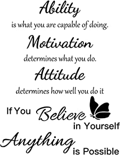 2 Sheets Vinyl Wall Quotes Stickers Ability Motivation Attitude Believe in Yourself Inspirational Saying Home Decals Quote...