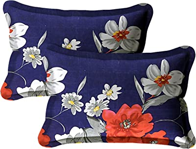 Hind Weave - Microfiber 180 TC Floral Single Bedsheet with 1 Pillow Cover -Navy Blue