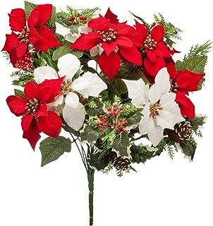 """OakRidge Holiday Poinsettia & Pinecone Bush – Artificial Floral Indoor/Outdoor Home Décor – 21"""" High Overall"""