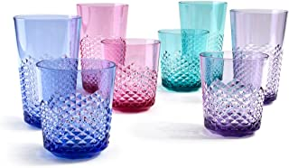 Cupture Diamond Plastic Tumblers BPA Free, 24 oz / 14 oz, 8-Pack (Assorted Colors)