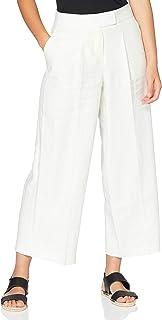 Marchio Amazon - find. Pantaloni alla Caviglia in Lino Donna, Nero (Black), 40, Label: XS