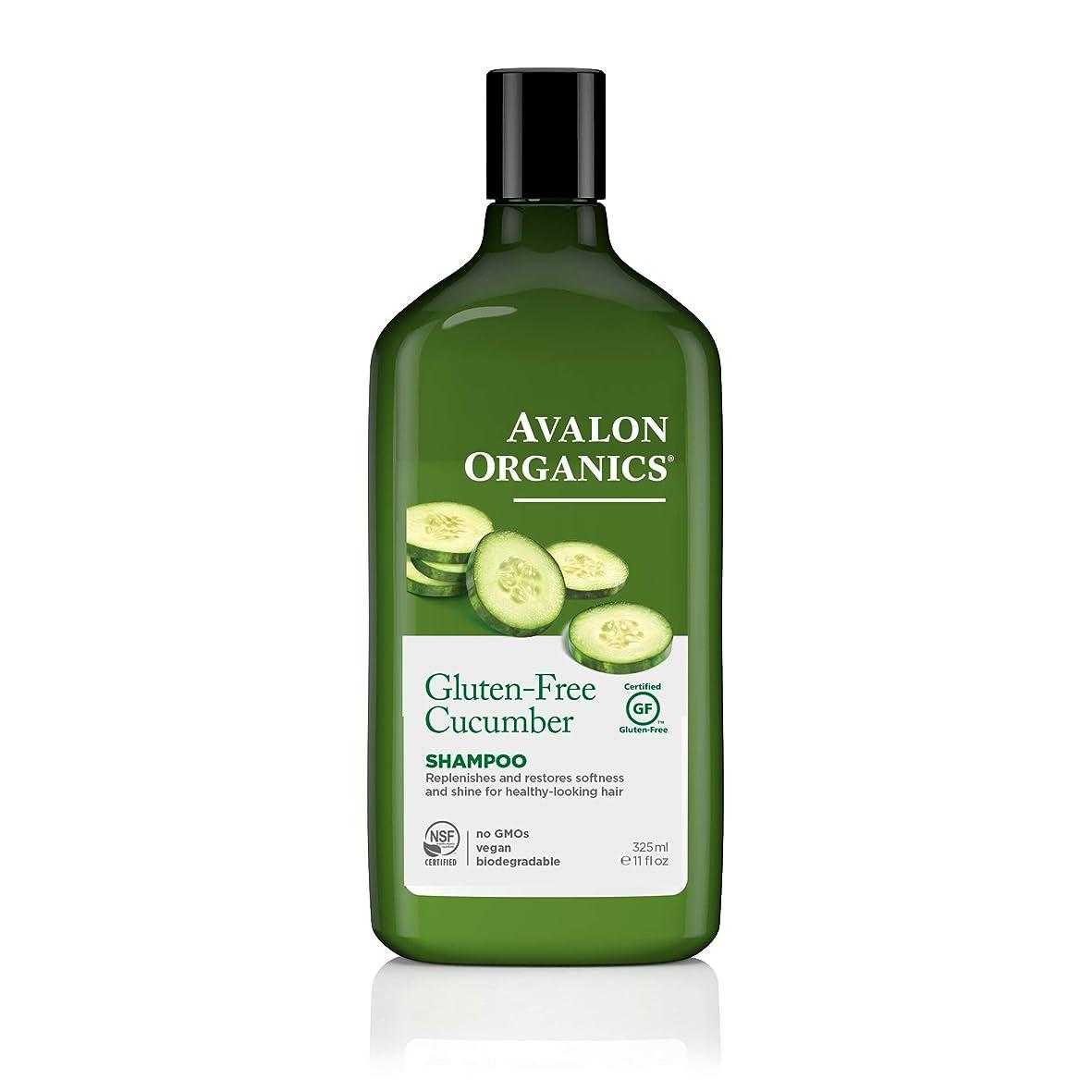 ゴルフ名前で地味なAvalon Organics, Gluten Free Shampoo, Replenishing Cucumber, Fragrance Free, 11 fl oz (325 ml)