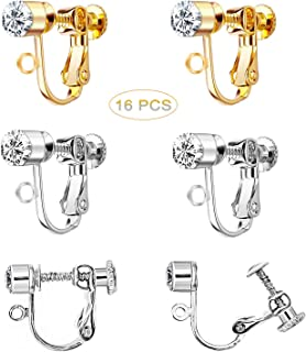 Finyosee 16 Pieces Crystal Clip-on Earrings Converter Components - for Non-Pierced Ears (Silver and Rose Gold)