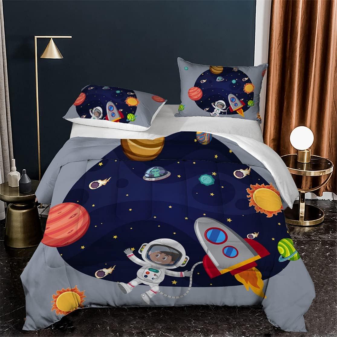HMT NF Space Astronaut Comforter Planet Ship trend rank Set OFFer Printing Rocket