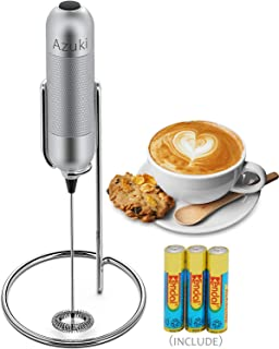 Milk Frother,Azuki Handheld Electric Coffee Frother With All Metal Housing and Stand, Battery Operated Foam Maker For Bulletproof Coffee, Latte, Cappuccino ,Batteries and Stainless Steel Stand Included