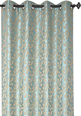 Deco Window Polyester Blend Eyelet 52 X 60-inch Window Curtain Polygon Hive-Turquoise (Set of 2)
