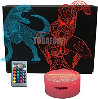 YODAFOOR Dinosaur Spider-Man Night Light Lamp Dinosaur Toy Spider-Man Gifts for Boys Teen Kids Birthday Halloween Christmas Gifts Nurcery Decor Lamp Bedroom Table Decoration (Dinosaur03)