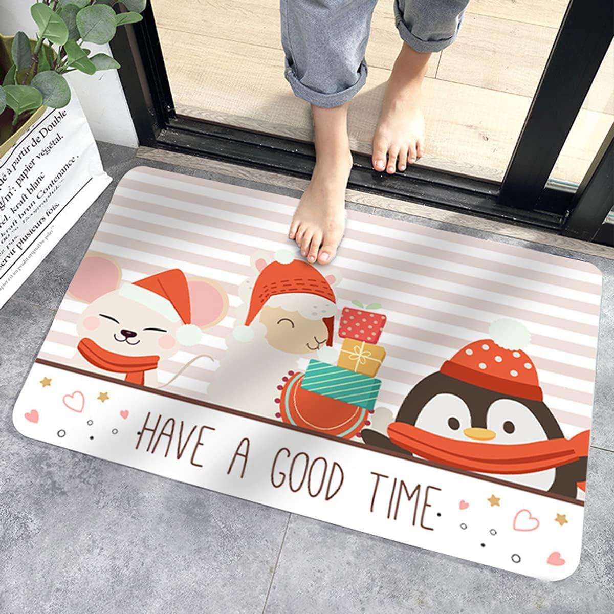 Ximger Felpudos de Navidad para puerta delantera de casa, mantas de bienvenida, antideslizante para puerta trasera, decoración interior y exterior, alfombra de entrada (42 x 62 cm)