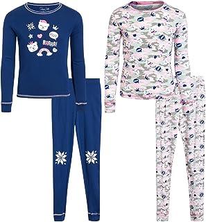 Girls' Pajama Set - 4 Piece Snug Fit Cotton Sleepwear Set