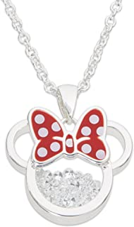 "Disney Birthstone Women and Girls Jewelry Minnie Mouse Silver Plated Shaker Pendant Necklace, 18+2"" Extender"