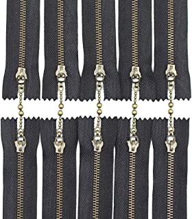 Meillia 10PCS 12 Inch #3 Antique Brass Metal Zippers With Water Drop Pulls Close-end Anti-Brass Metal Zippers for Sewing, Purses, Bags, Handbags (12