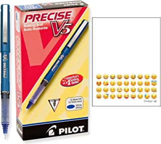 Pilot 35335 Precise V5 Roller Ball Stick Pen, Precision Point, Blue Ink.5mm, Dozen
