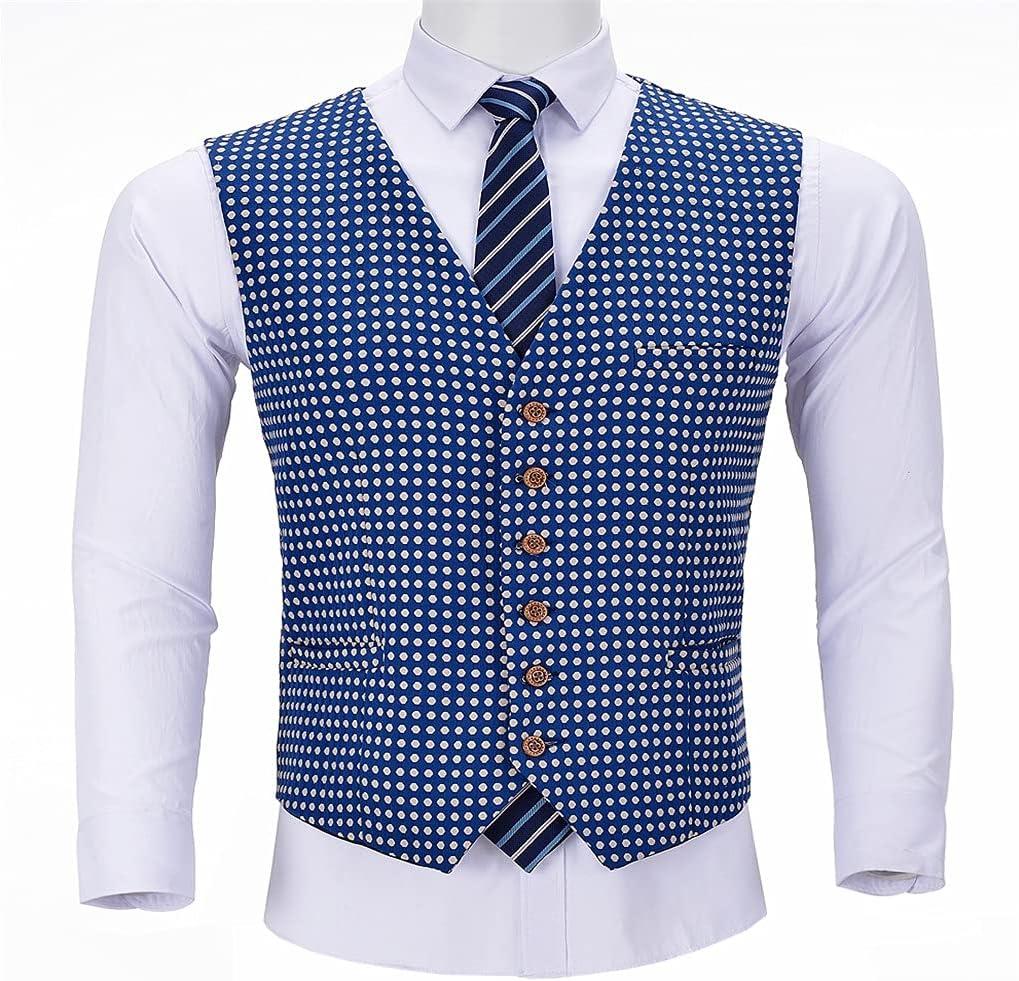 SLATIOM Formal Men's Suits Slim Fit Royal Blue Wastcoat Prom Tweed Tuxedos Patterned Wool Jacket for Wedding (Color : Blue, Size : 5XL code)