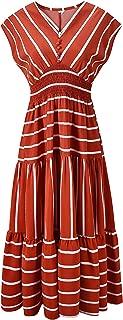 Women's V-Neck Sleeveless Striped Chiffon Dress